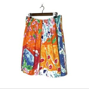 RALPH LAUREN SKIRT COLORFUL ABSTRACT LINED COTTON
